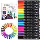 Fabric Marker, Emooqi 24 Colors Textile Marker , No Bleed Fabric Pen Permanent and Washable T-Shirt Marker,Ideal for Decorate T-shirts, Bibs, Textiles, Shoes, Handbags, Graduation Signatures