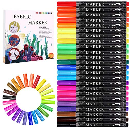 Fabric Marker, Emooqi 24 Colors Textile Marker No Bleed Non Toxic Fabric Pen Permanent and Washable T-Shirt Marker,Ideal for Decorate T-shirts, Bibs, Textiles, Shoes, Handbags, Graduation Signatures