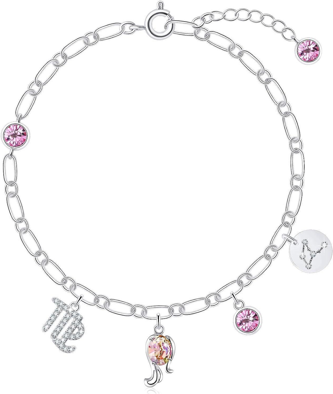 PLATO H Birthstone Zodiac Bracelet Crystals for Women Constellat