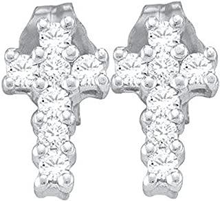 0.25 Carat (ctw) 10K Gold Round Cut White Diamond Ladies Cross Stud Earrings 1/4 CT