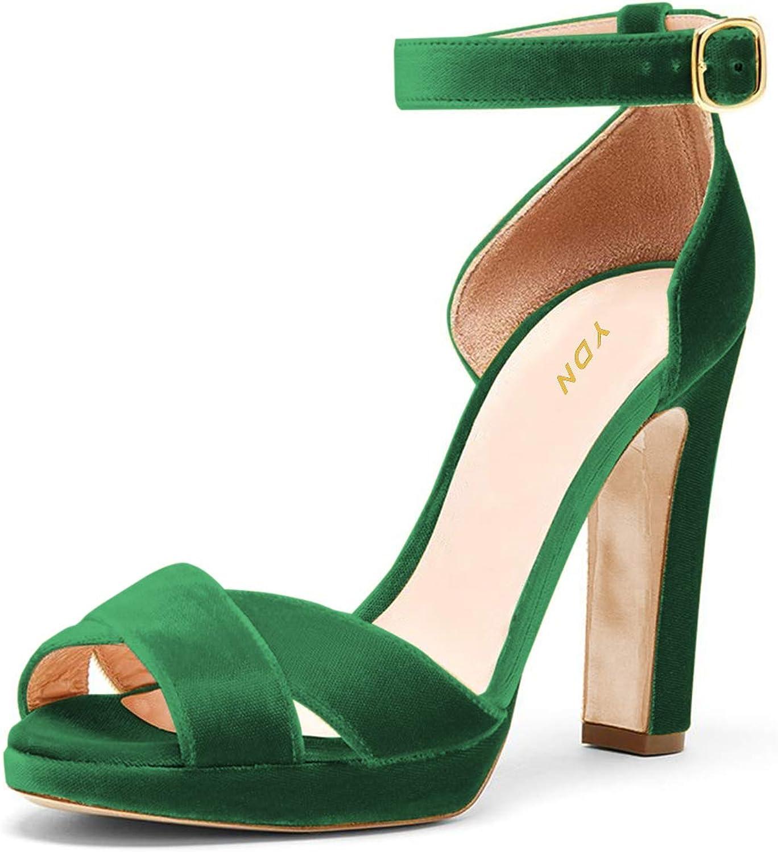 YDN Women Dress Thick High Heel Platform Sandals Ankle Straps Pumps Peep Toe shoes