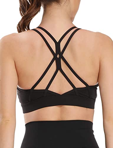 popular Sports Bras for Women Medium Impact Cross Back Padded Strappy outlet online sale Yoga Bralette Workout Yoga Runnning wholesale Fitness Bra outlet online sale