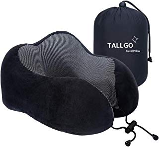 Travel Pillow, Best Memory Foam Neck Pillow Head Support Soft Pillow for Sleeping Rest, Airplane Car & Home Use (Black) (Black)