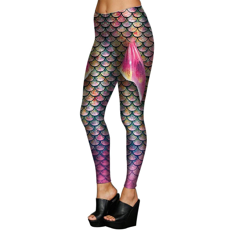 Man&Y の女性のレギンスの3Dプリントパープルの神秘的な海の人魚フィッシュスケールのレギンス女性のスポーツのためのレギンスヨガパンツのタイツフィットネスレギンス (Color : Purple, Size : M)