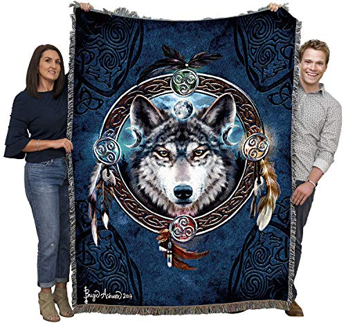 Celtic Wolf - Brigid Ashwood - Cotton Woven Blanket Throw - Made in The USA (72x54)
