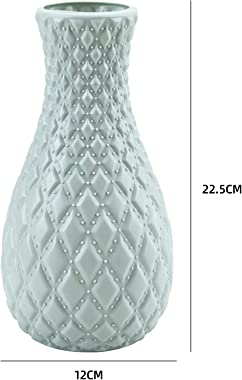 123 Life Vases en plastique pour fleurs, durable et moderne, décoration pour salon, bureau, décoration de mariage (bleu)