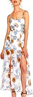 Beihxwe Summer Sexy Perspective Spaghetti Strap Tropical Flower Printed Split Maxi Dress