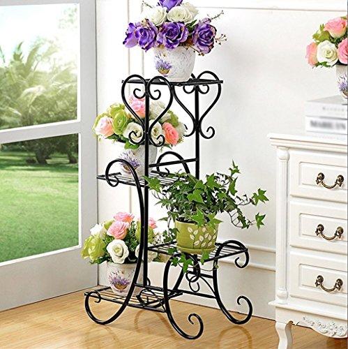 balcon voyantes Racks de fleurs en fer Salle de séjour intérieure et extérieure Balcon Étagère à fleurs multicouches Assemblage de décoration Porte-fleurs Plantes d'extérieur Présentoir
