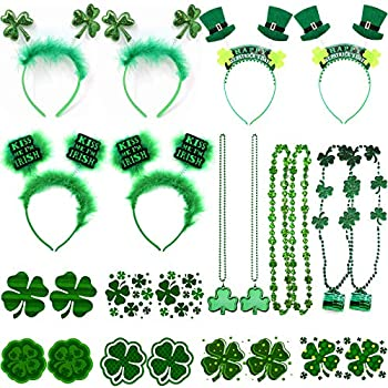 St Patrick s Day Accessories Irish Headband Hair Accessories and Shamrock Necklace Clover Temporary Tattoos for Women Men Toddlers Saint Themed Decorations Costumes Party Favors Supplies