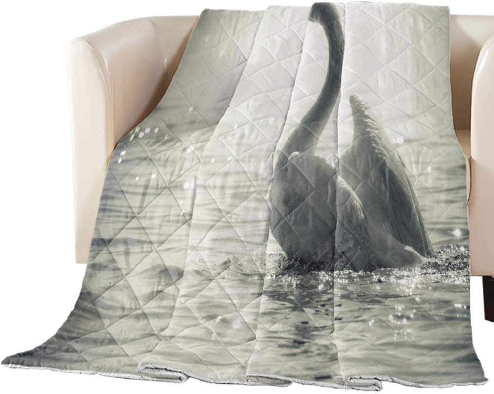 Arts Language Cool Summer Bedspread Seattle Mall on Now sale Lake Swan All-Seaso Quilt