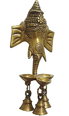 Anshika International Brass Lord Ganesha Wall Hanging Oil Diya with 3 Bells - Golden (Size-9.5x4.5 inches)