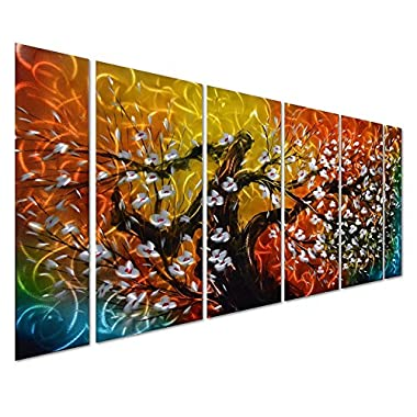 Pure Art Gigantic Tree of Life Metal Wall Art Decor, Colorful 3D Artwork for Modern, Contemporary and Traditional Decor, 6-Panels Measures 24 x 65 , Abstract Great for Indoor and Outdoor Rooms