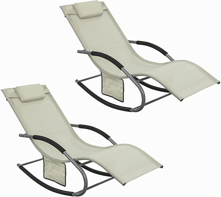 Poltrone dondolo sobuy sdraio relax sedie a sdraio con poggiatesta beige ogs28-mix2 it B07B2VRKHP