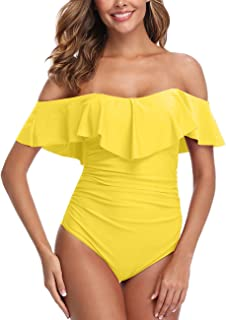 One Piece Bathing Suit Tummy Control Off Shoulder Swimsuits Flounce Ruffled Tankini