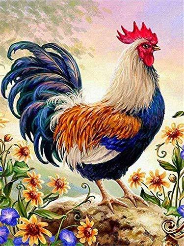 Pintura por número pollo pintado a mano pintura arte regalo colorear por números kits de animales decoración de la habitación A10 40x60cm