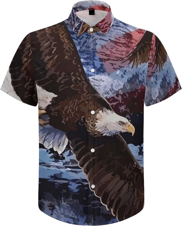 Men's Regular-Fit Short-Sleeve Printed Party Holiday Shirt Snow Eagle Flag