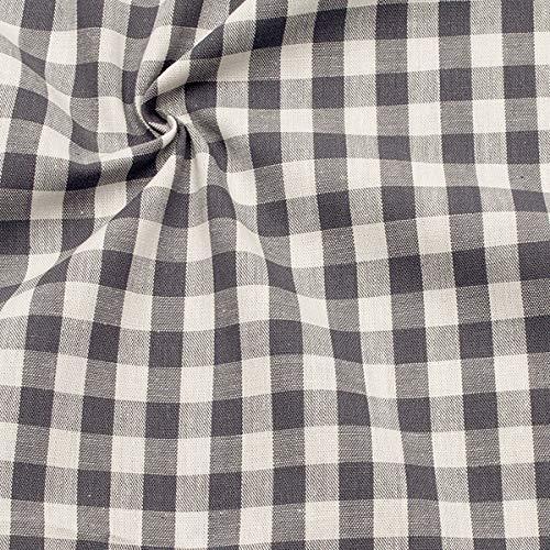 STOFFKONTOR 100% Baumwollstoff Stoff Züchen Vichy Karo groß - Öko-Tex Standard 100 - Meterware, grau Weiss - zum...