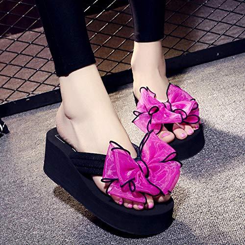 lxylllzs Playa y Piscina Unisex Zapatos,Chanclas con Chanclas, Sandalias Casuales de Playa y zapatillas-6cm Negro + Lazo Rojo Rosa_37 un Metro más pequeño,Sandalias Zapatos de Playa y Piscina,