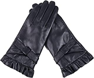 Ladies Leather Gloves Touch Screen Mittens Womens Soft Warm Velvety Lining Winter Gloves with One Leather Belt Decoration (Black)