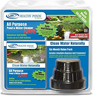 Healthy Ponds 52400 All Purpose Pond & Water Cleaner 2,500 - Reloadable Dispenser with 6 30-Day Refills; Treats up to 2,500 Gallons for 180 Days