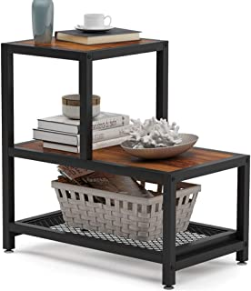 Tribesigns Industrial End Table, 3 Tier Rustic Side Table with Mesh Shelf, Nightstand with Shelves for Storage, Wood Look Accent Side Table for Living Room, Bedroom and Small Spaces, Retro Brown