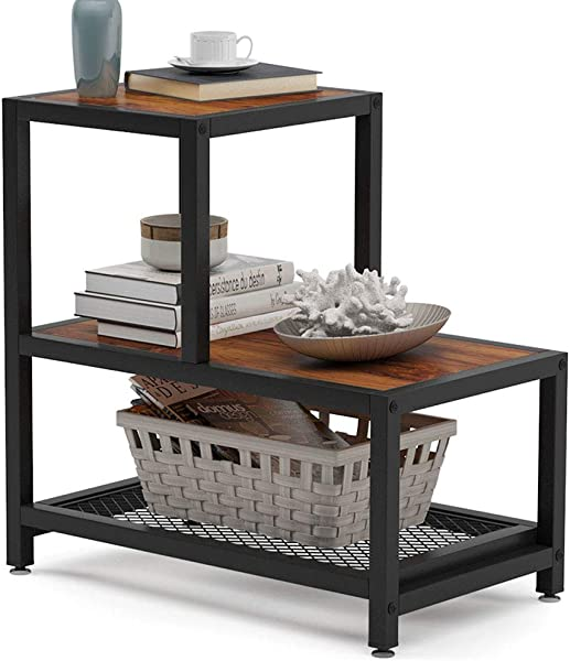 Tribesigns Industrial End Table 3 Tier Rustic Side Table With Mesh Shelf Nightstand With Shelves For Storage Wood Look Accent Side Table For Living Room Bedroom And Small Spaces Retro Brown