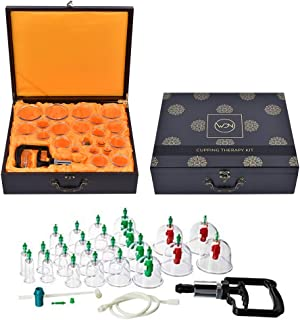 WDN Cupping Set with Pump with 24 Cups, Hand Pump with Extension Tube in an Artistic Decorative Wood Storage Box   Modern Chinese Cupping Therapy Kit for Air Cupping Technique   Improve Health