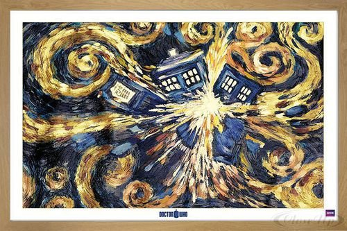 Doctor Who Poster Exploding Tardis (96,5x66 cm) gerahmt in: Rahmen Eiche