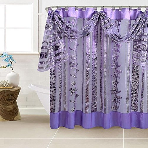 BH Home & Linen Decorative Sheer Scarf Shower Curtain with Floral & Striped Designs 70' x 72 Inch Made of 100% Polyester. (Paris Purple)