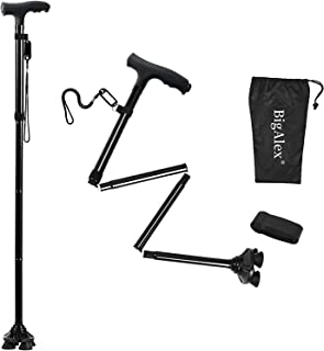 BigAlex Folding Walking Cane with LED Light,Adjustable & Portable Walking Stick, Lightweight,Collapsible with Carrying Bag...