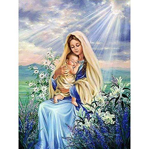 baodanla Rahmenloses Ölgemälde Full Round Ng Jungfrau Maria und Baby Crystal Sticker Christian Home 50x70cm