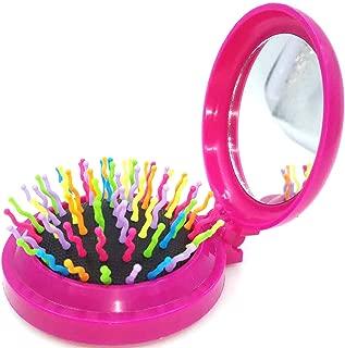 Mini Travel Makeup Hair Brushes Folding Hair Brush Gifts for Women Pocket Wet Magic Round Hair Comb Mirror (Pink)