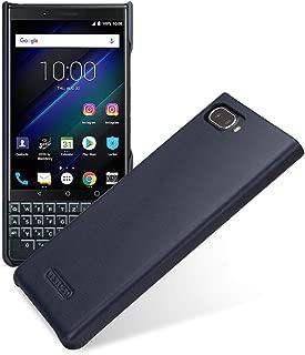 TETDED Premium Genuine Leather Case for BlackBerry KEY2 LE, Snap Cover, Caen (Nappa Dark Blue)