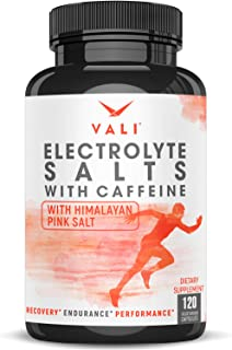 Electrolyte Salts + 40mg Caffeine Rapid Oral Rehydration Pills, Hydration Minerals Active Fluid Recovery Health - Sodium, Potassium, Magnesium, Calcium, Vitamin D3, Himalayan Pink Salt, 120 Capsules