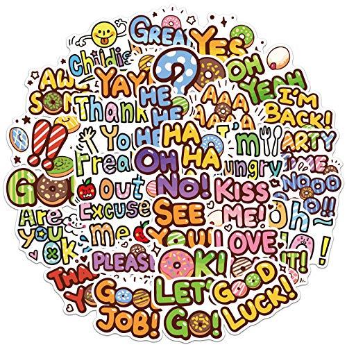 Serie de Frases en inglés VSCO Maleta de Viento Maleta con Ruedas portátil Graffiti Pegatina Impermeable 50 Uds