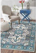 Blue Vintage Oriental Area Rugs Floral Border Soft Carpet Large for Living Room (160 x 230cm)