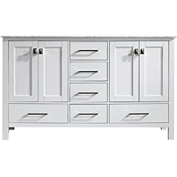 """Vinnova 723060-WH-CA-NM Gela 60"""" Double Vanity Carrera White Marble Top Without Mirror"""