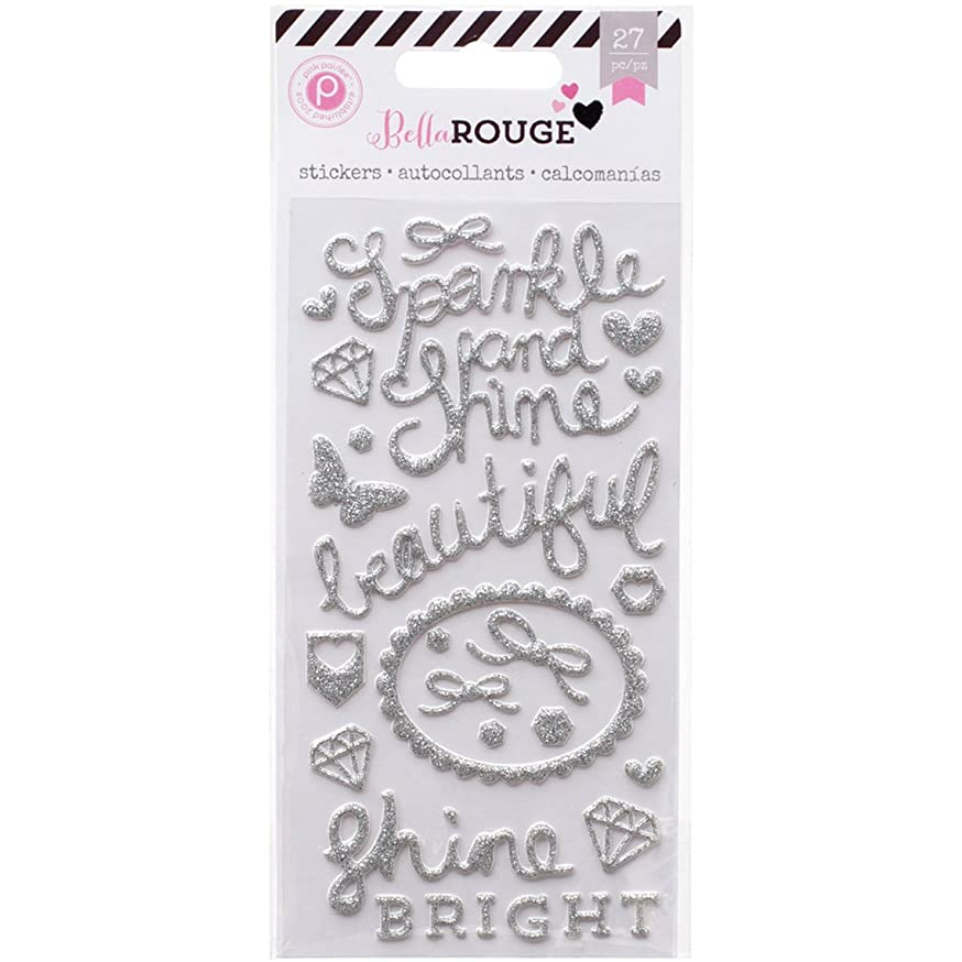 American Crafts Bella Rouge Puffy Glitter Stickers, Silver Words and Shapes