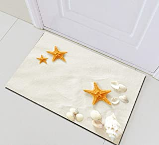 Sand Beach Seashells Conch Starfish Bathroom Rug,Indoor Non-Slip Door Mat,Children's Bathroom Carpet,15.7X23.6 in,Bathroom Accessories Home Decoration