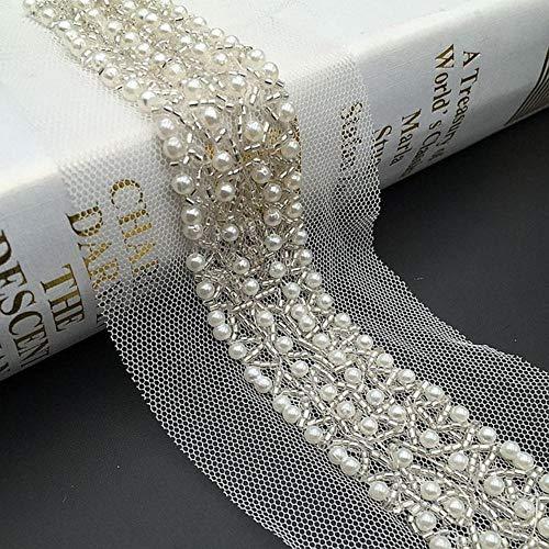 1Yard Black Champagne Pearl Perlen Lace Trim Collar Bänder African Lace Sewing Materials Kunsthandwerk für Kleidung Brautkleid, cremefarben, M.