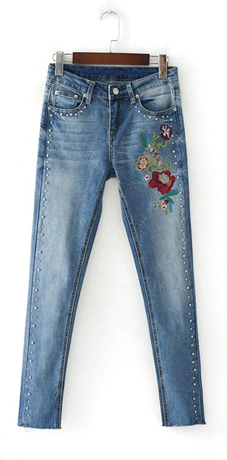 DATAIYANG Women Jeans Casual Pure color Flowers Embroidered Rivets Decorated Denim Jeans