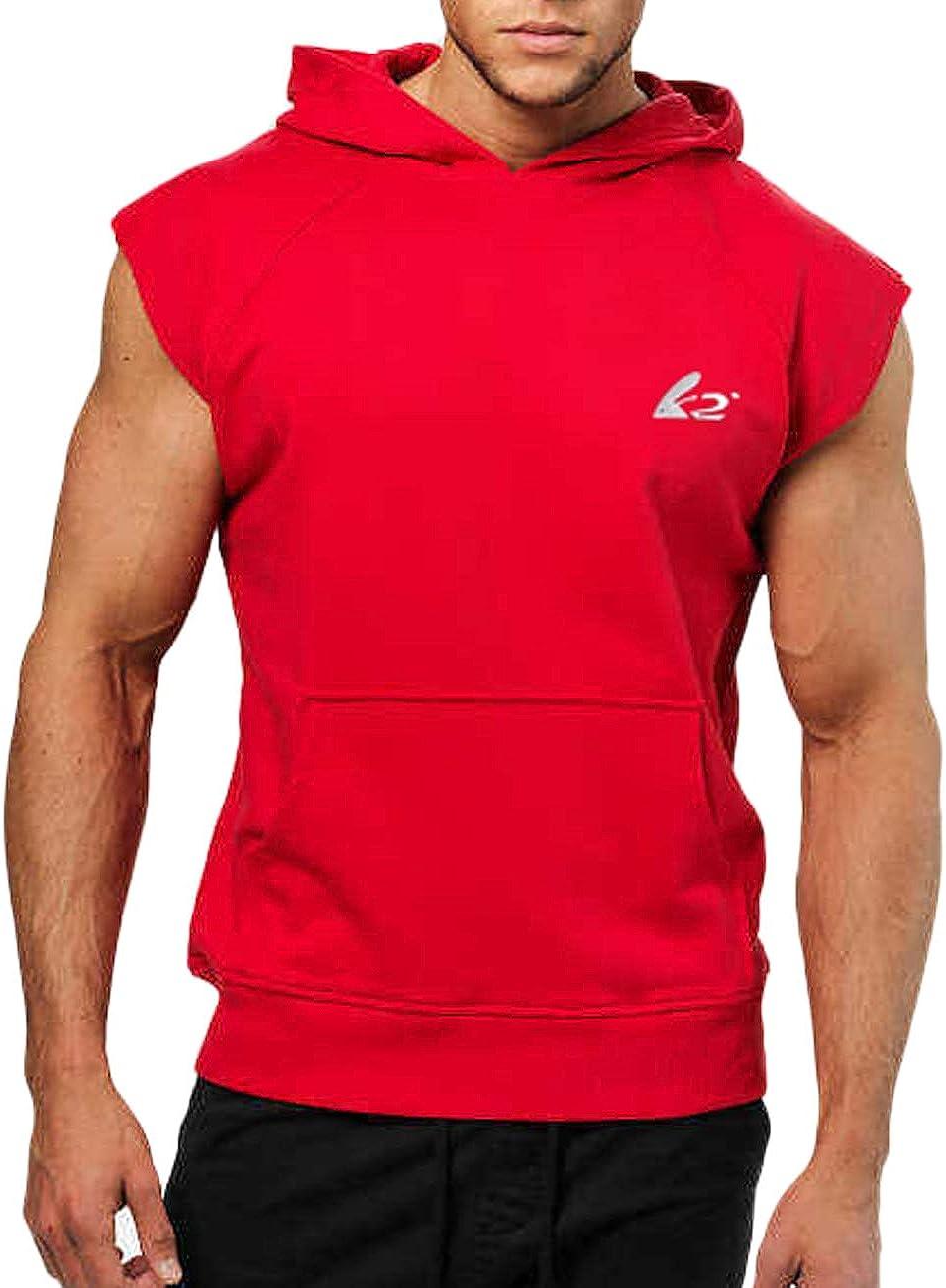 PAIZH Men's Bodybuilding Sleeveless Hoodies Gym Workout Hooded Tank Tops