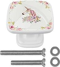 Vierkante deurknoppen, kastdeurgrepen met schroeven voor kast, lade, meubels, keuken, kast, kast en decoratie bloem en een...