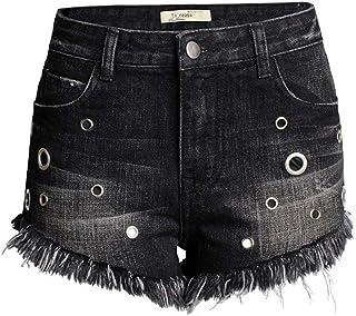 317d25e27d948 Femme Shorts Rembourré Mode Taille Haute Fille Dames Jeans Jeans Spécial  Style Gothique Short en Jean