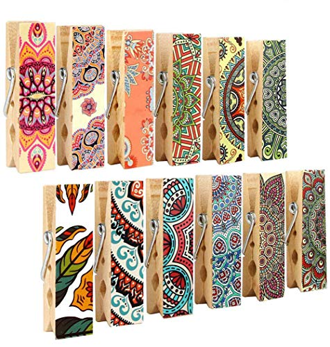 Pack-12 Decorative Magnetic Clips - Refrigerator Magnets Display Photos,Memos,Lists,Calendars on Whiteboard,Cabinets,Office or Classroom - Fridge Magnets Made of Wood with Beautiful Patterns