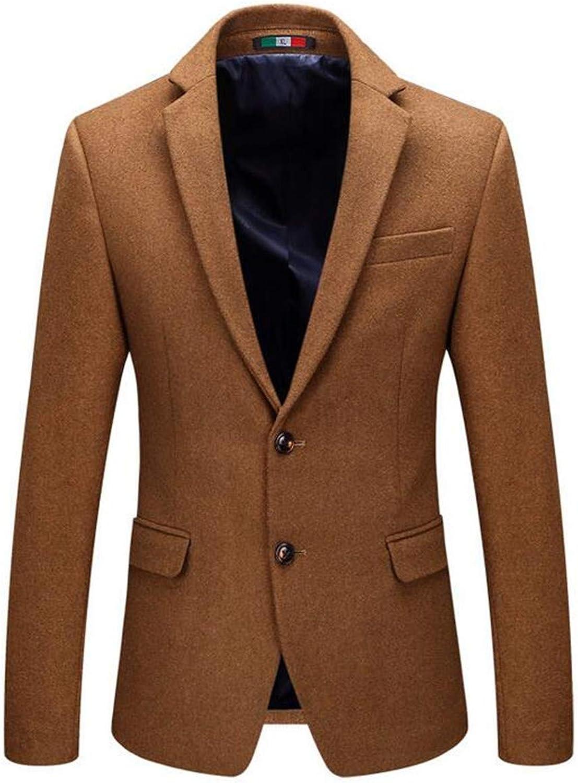 CRYYU Men Slim Fit Wool Blend Lapel Two Button Solid Dress Blazer Jacket Sport Coat