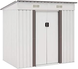 Crownland Storage Shed Tool House 4 X 6 FT Outdoor Garden Steel Shed with Sliding Door for Backyard ( White )