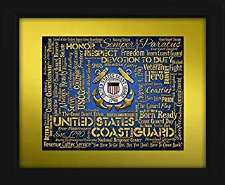 U.S. Coast Guard Framed 16x20 Art Piece - Beautifully matted and framed behind glass