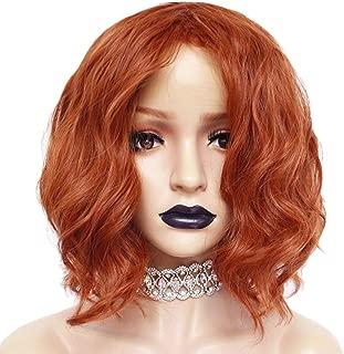Anogol Hair Cap+Orange Wig for Women Orange wig Cosplay Wig Female Short Wavy Wigs for Movie