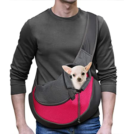 LILYS PET Pet Dog Cat Puppy Sling Carrier,Adjustable Pet Shoulder Bag Sling Carrier with Breathable Mesh Design